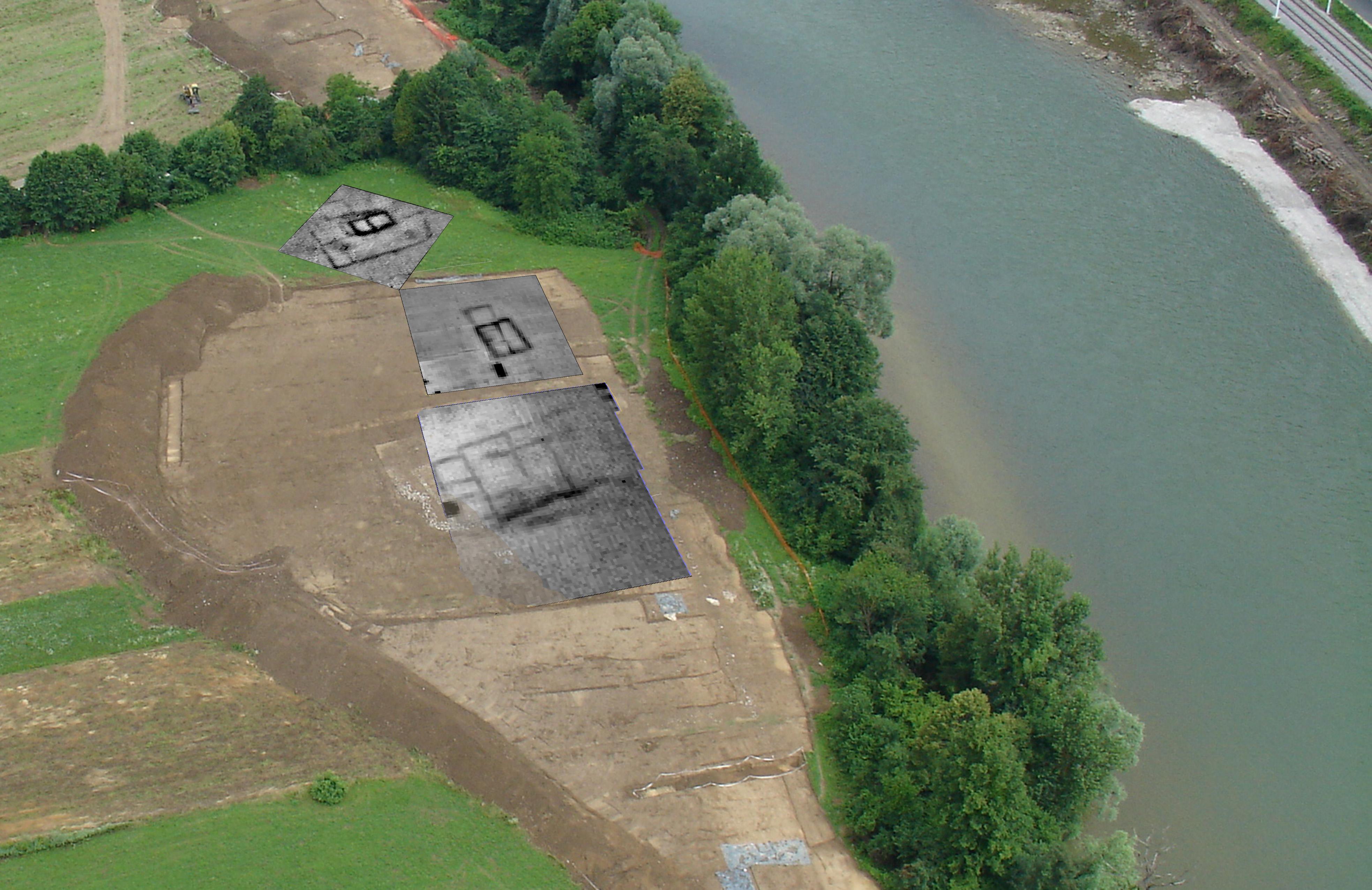 Pogled na najdišče Groblje (Log pri Sevnici) med izkopavanji. Aeroposnetku območja med izkopavanji so dodani rezultati geofizikalne upornostne metode, ki so pokazali ostanke treh skupin objektov