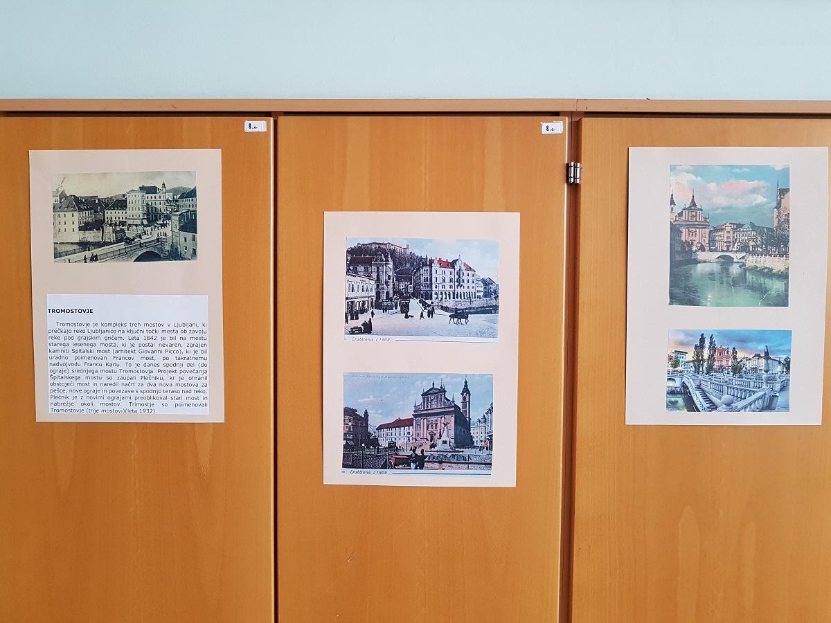 V tednu kulturne dediščine so se devetošolci OŠ Riharda Jakopiča podali po sledeh Riharda Jakopiča in njegovih sodobnikov. Med kulturnim dnevom so pridno fotografirali. Učenci izbirnega predmeta vzgoja za medije: televizija so iz zbranega materiala, s pomočjo spleta in starih razglednic pripravili razstavo Kjer preteklost sreča prihodnost: kulturni pomniki nekoč in danes. Razstava bo en mesec bogatila 3. nadstropje naše šole. Ogledali si jo bodo vsi učenci šole, pa tudi starši, ki bodo prišli na praznični b