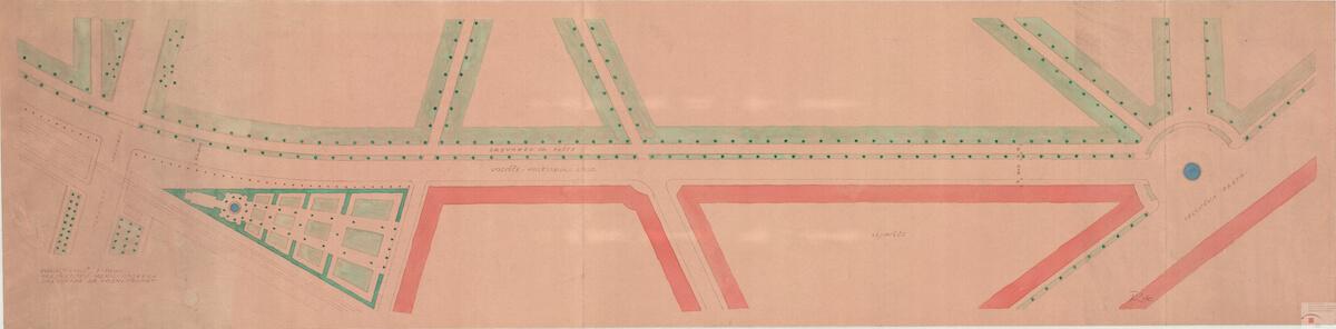 Načrt preureditev meridianskega drevoreda za vozni promet v Parku Tivoli, avtor Boris Kobe, 1940