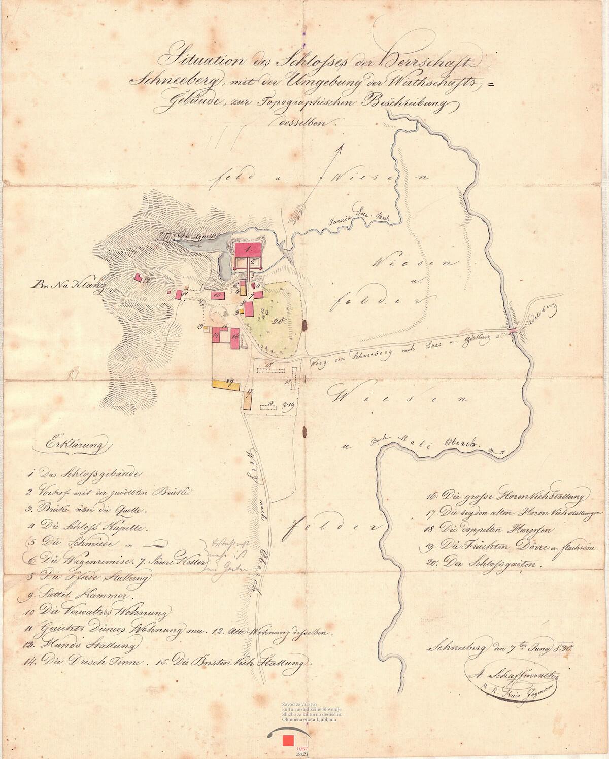Situacijski načrt gradu Snežnik z gospodarskimi poslopji in pripadajočim posestvom, 1830v