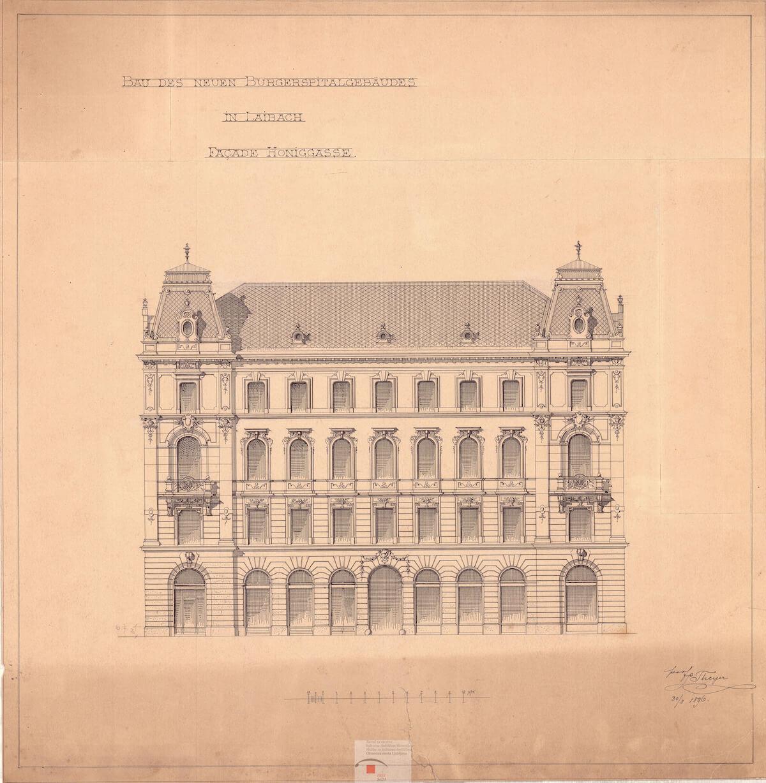 Načrt Palače Kresija v Ljubljani oz. nekdanji meščanski špital, 1896