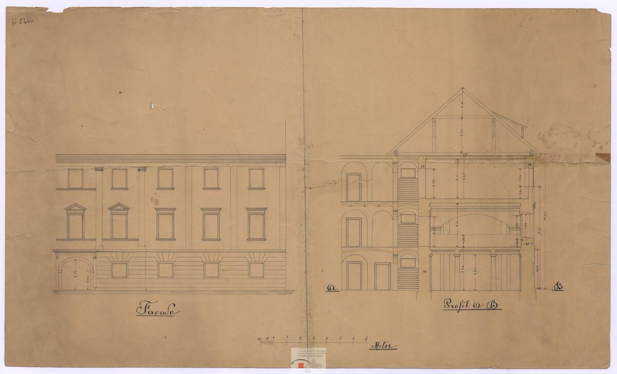 Načrt stavbe nekdanjega Alojzijevišča na Poljanski cesti , danes stavba Teološke fakultete, konec 19.st.
