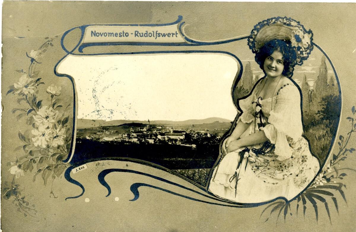 Stara razglednica Novega mesta iz leta 1909