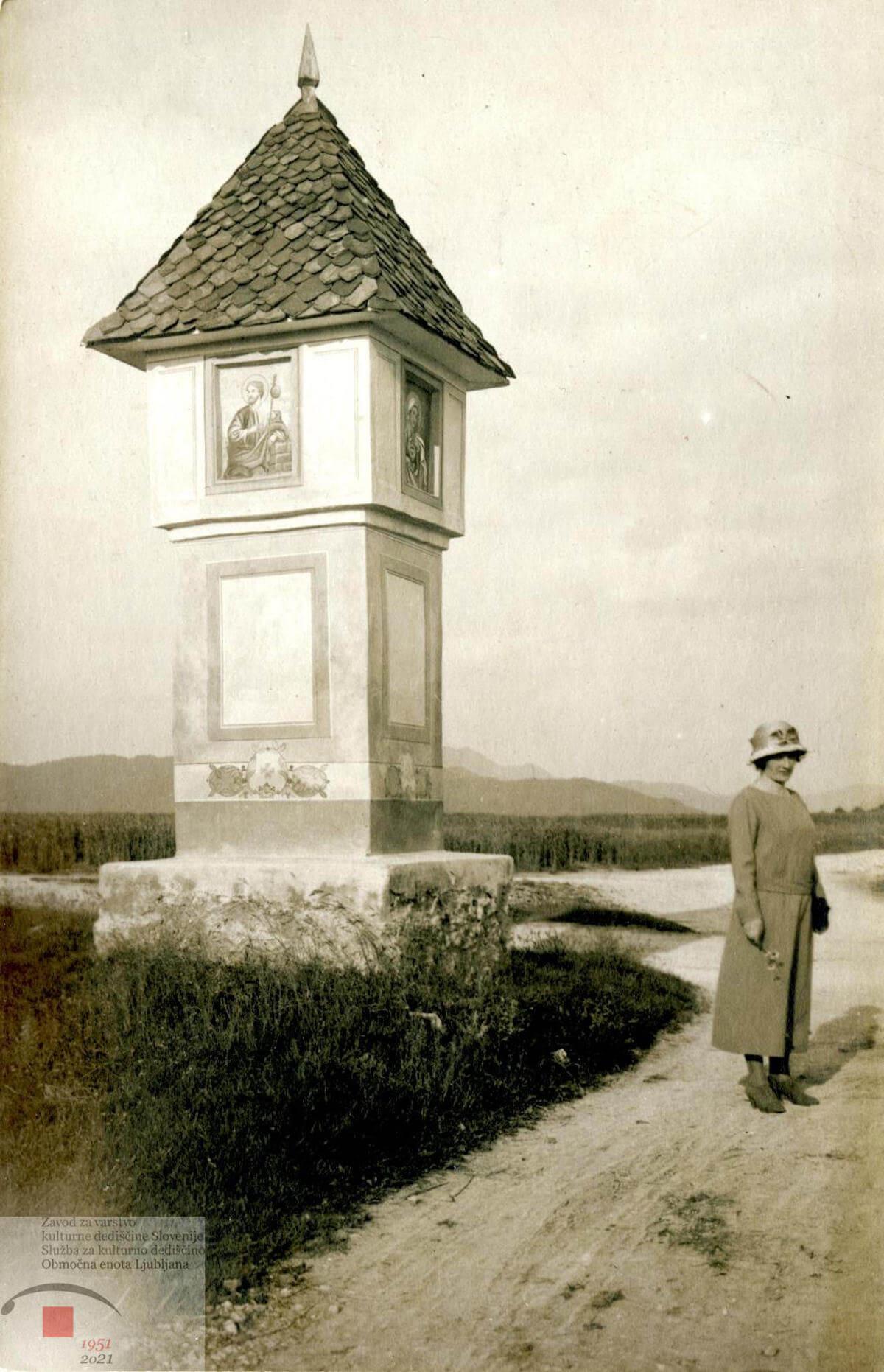 Fotografija Baročnega znamenja iz Šentjakoba iz leta 1923