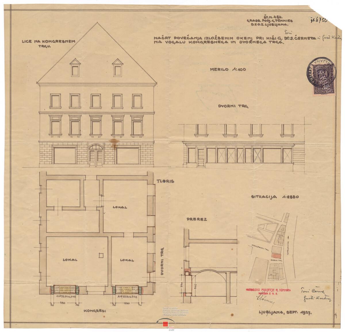 Načrt preureditve pritličja stavbe na Dvornem trgu 1 v Ljubljani, 1927