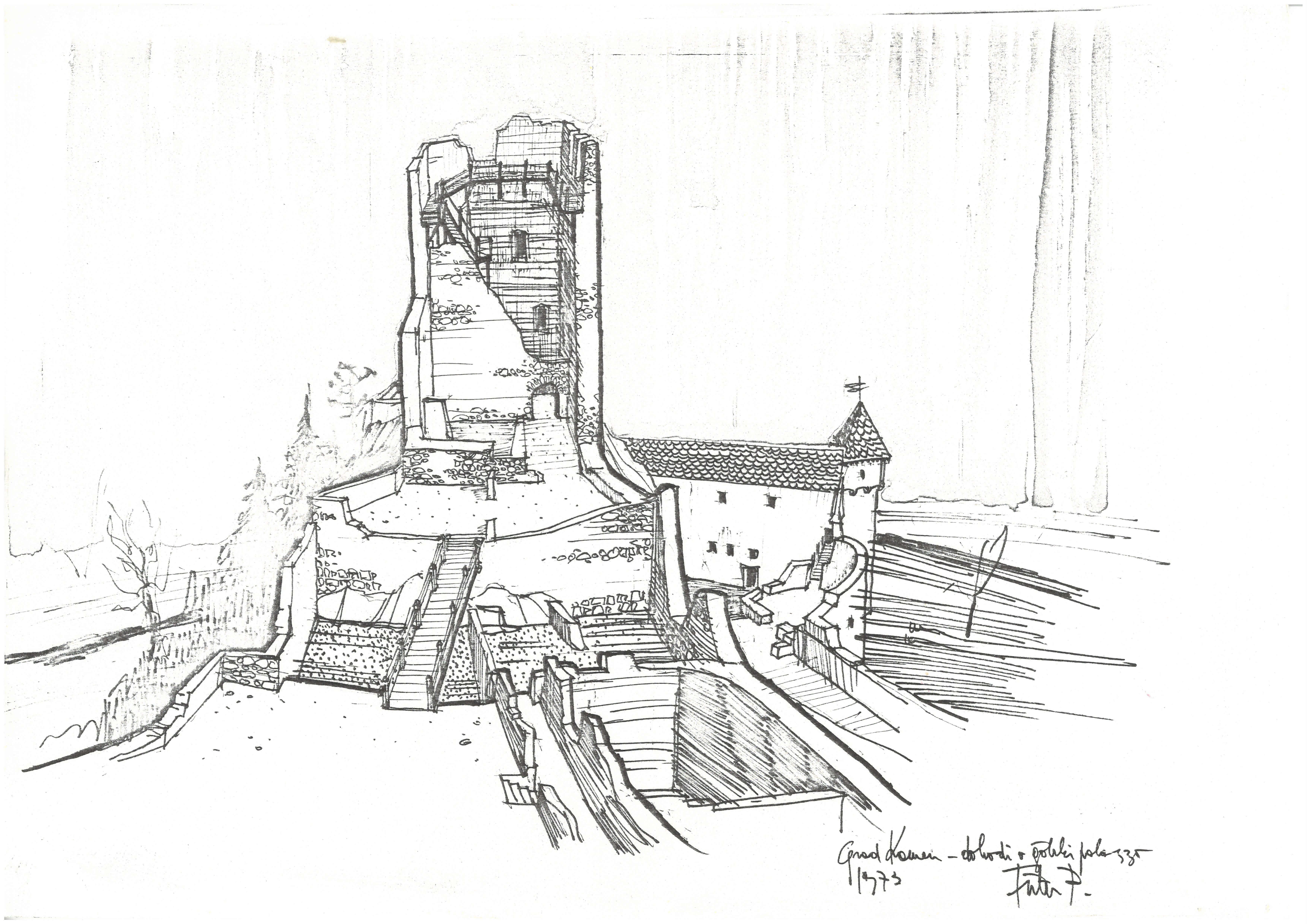 Peter Fister, grad Kamen v Begunjah na Gorenjskem, risba dohodov v palacij, 1973
