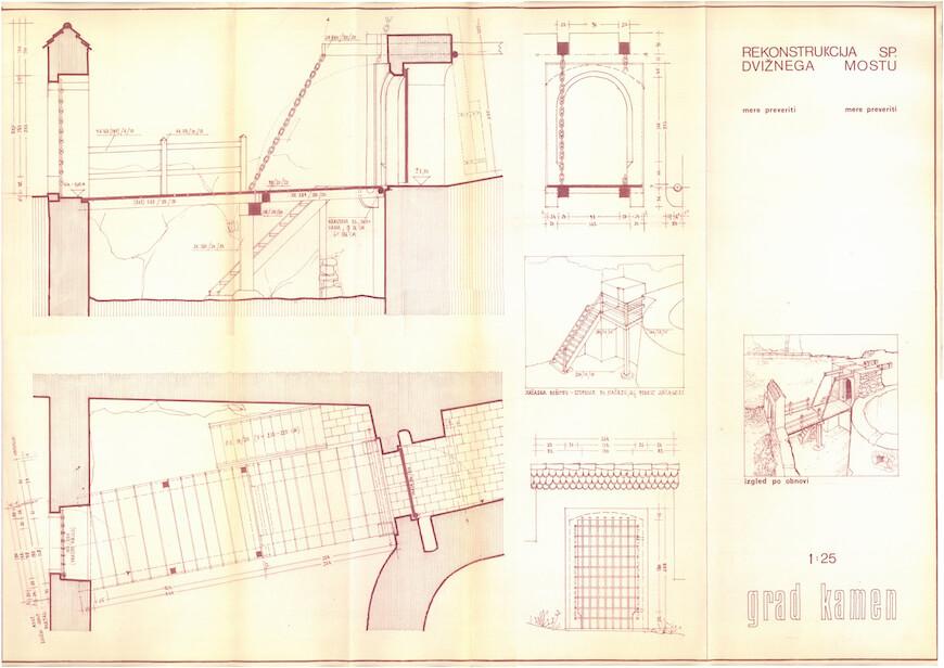 Peter Fister, načrt za rekonstrukcijo spodnjega dvižnega mostu v gradu Kamen v Begunjah na Gorenjskem