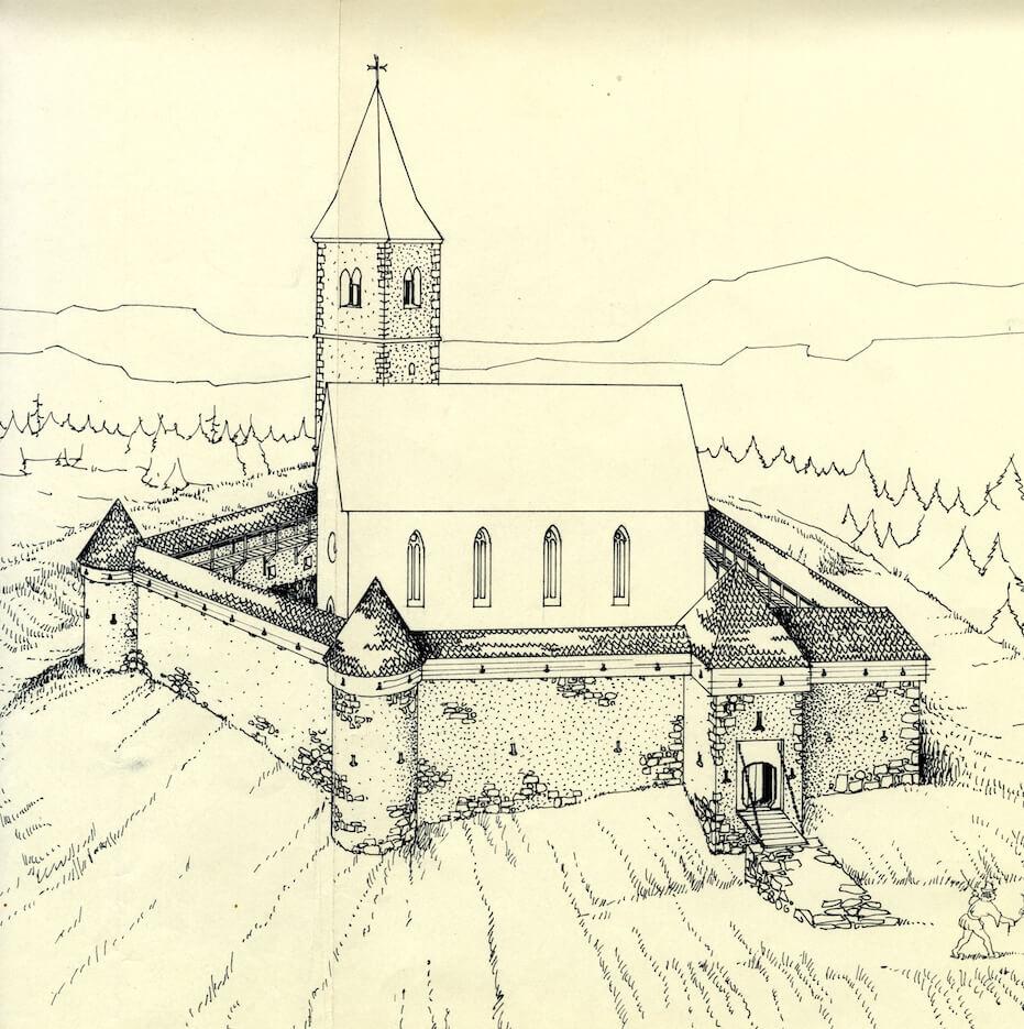 Peter Fister, risba vizualizacije protiturškega tabora na Krtini pri Domžalah