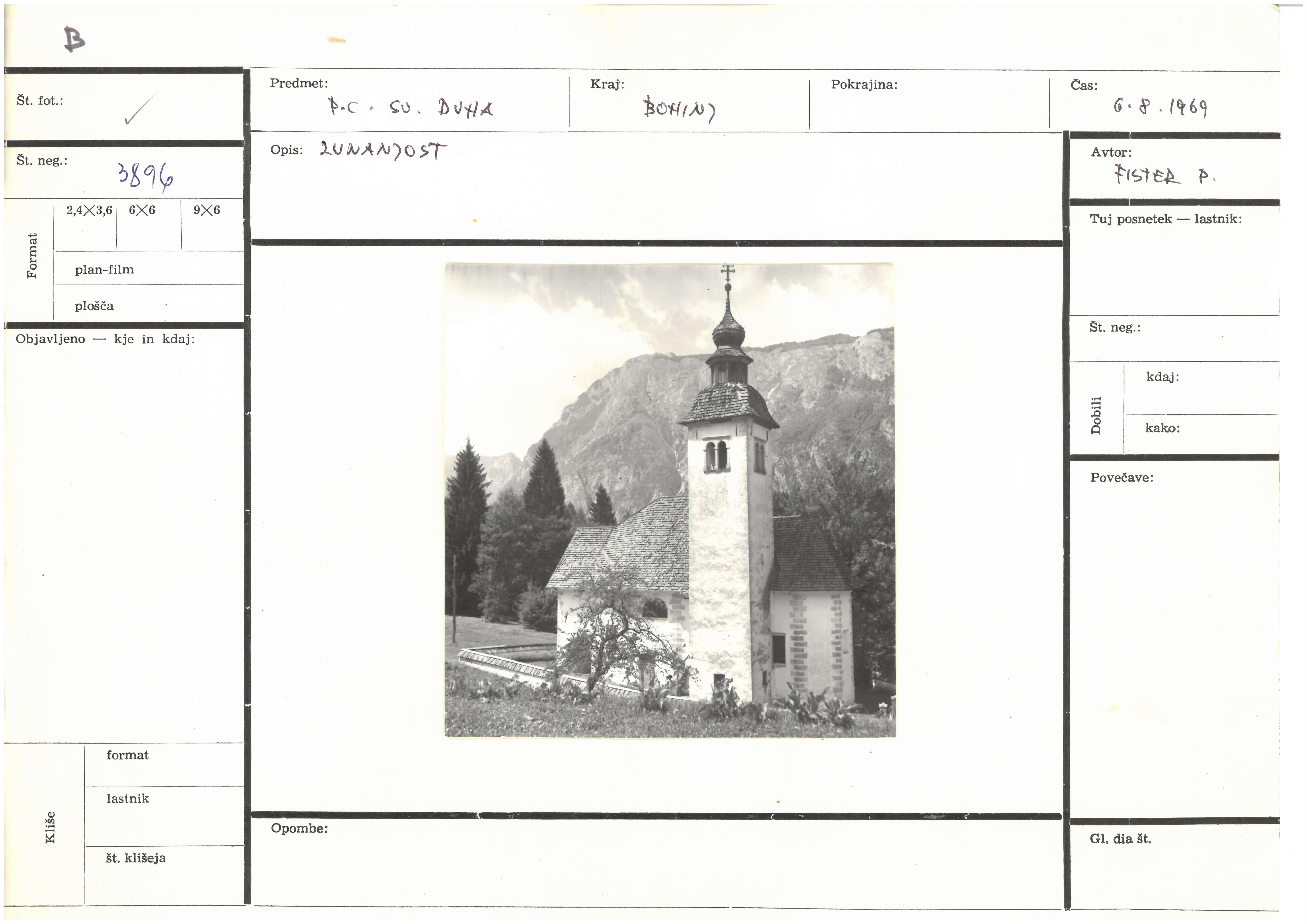 ZVKDS, Fotokarton s Fistrovo fotografijo cerkve sv. Duha v Bohinju, 1969