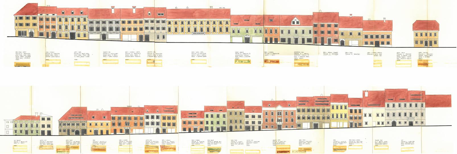 Peter Fister, barvna študija fasad Trga svobode v Tržiču, 1977