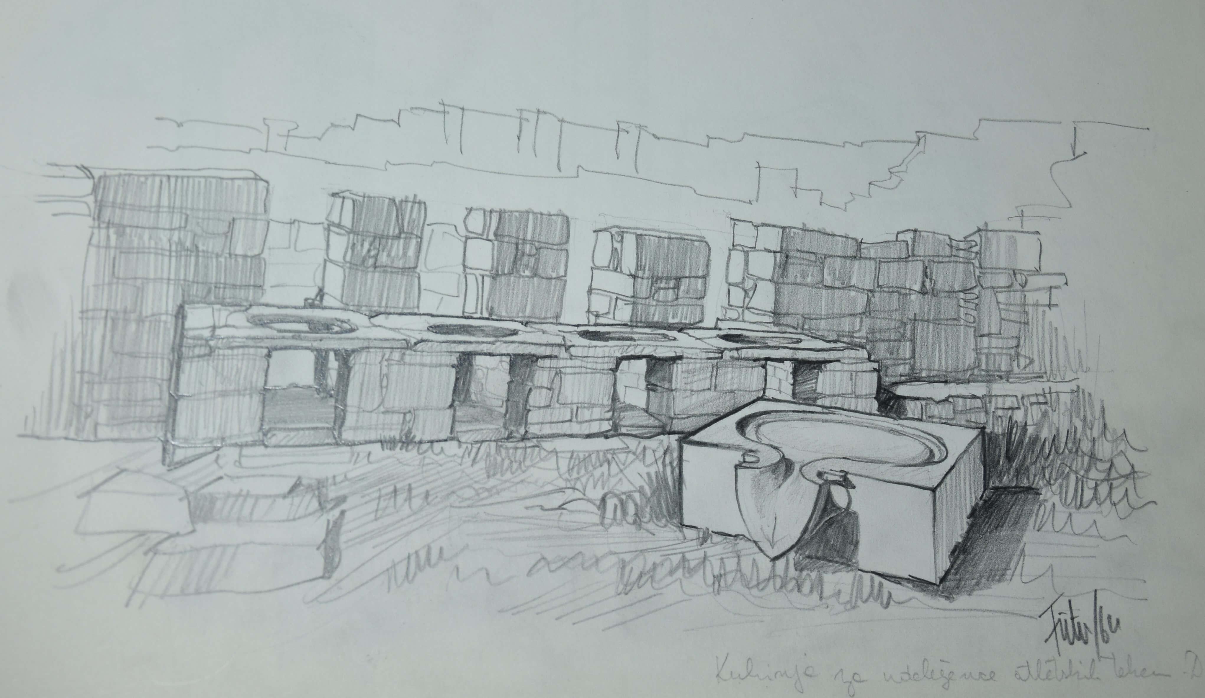 Peter Fister, risba iz Delosa 1, 1964