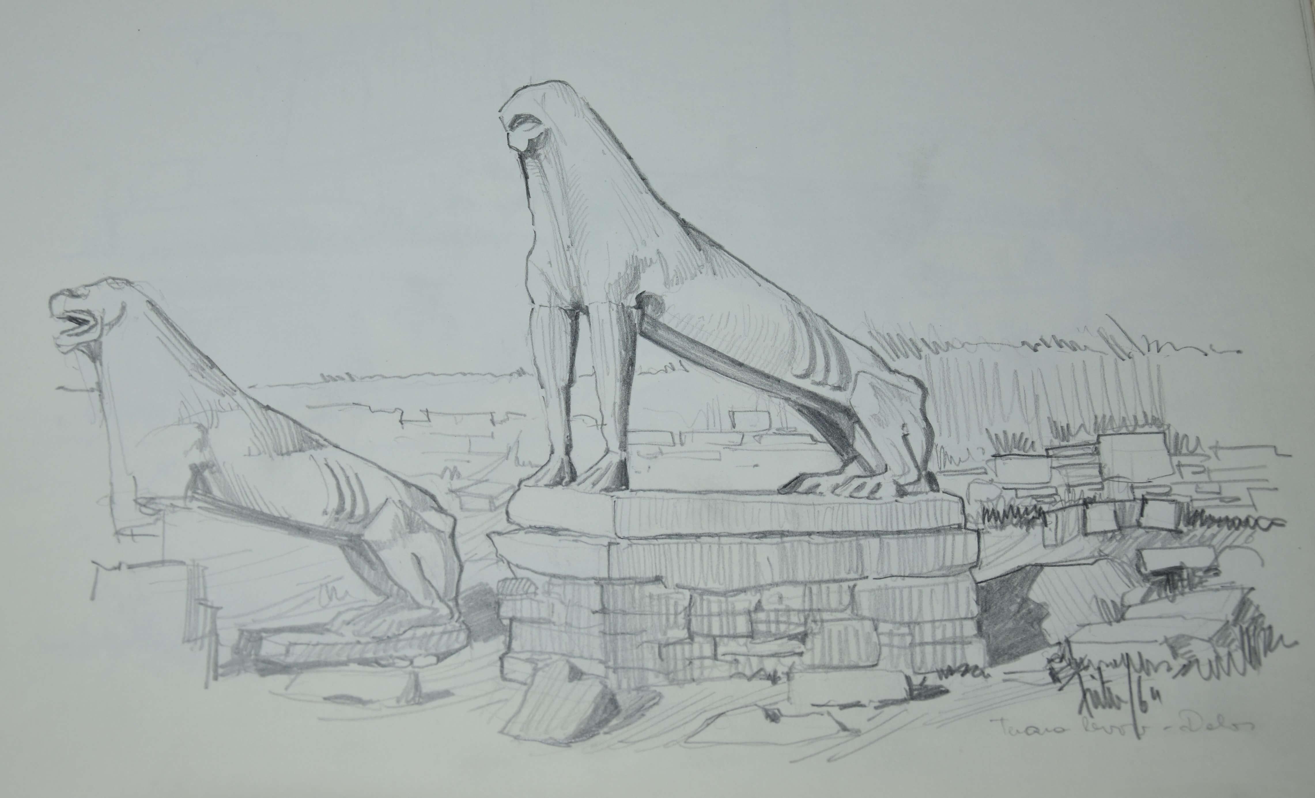 Peter Fister, risba iz  Delosa 2, 1964