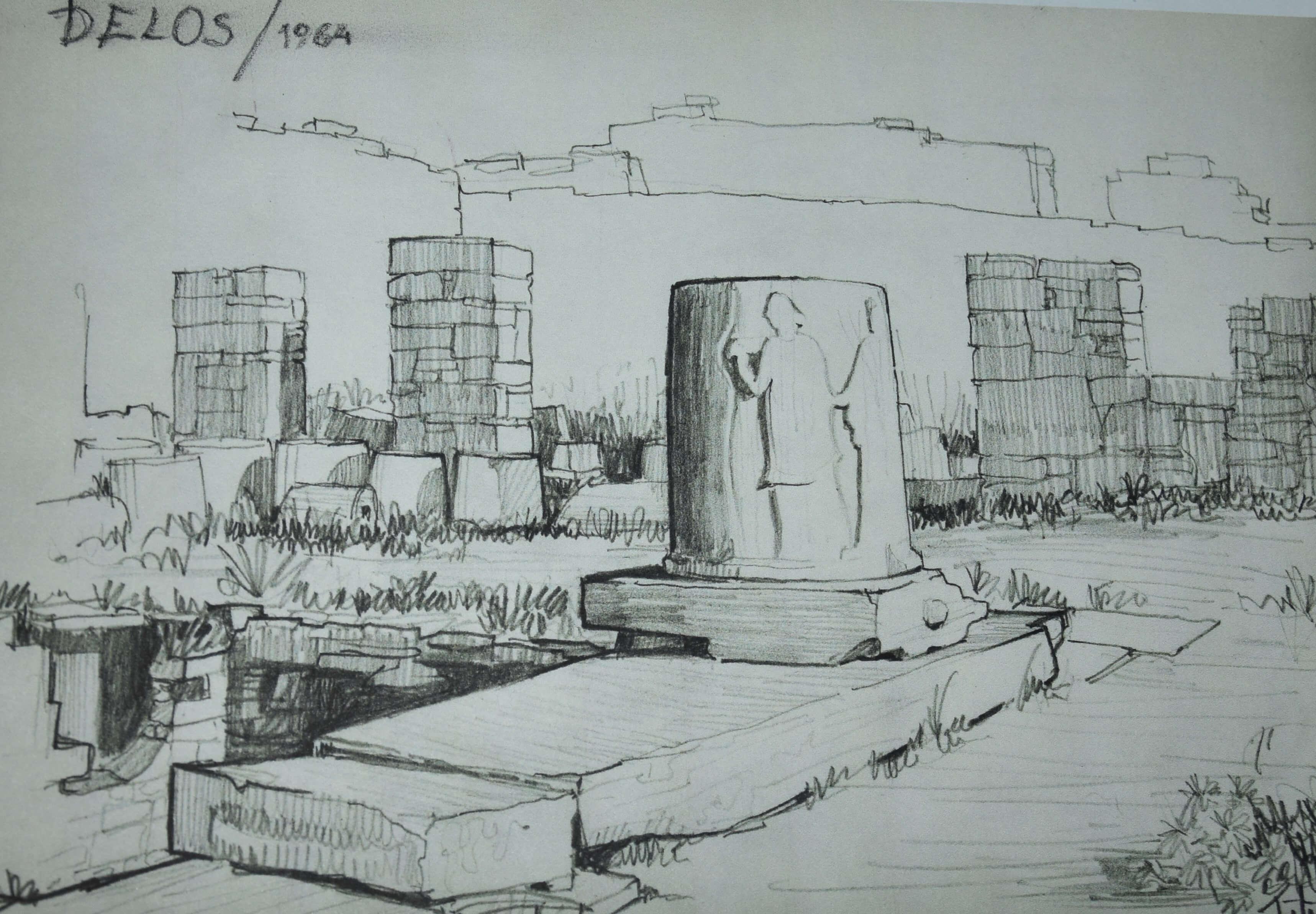 Peter Fister, risba iz Delosa 3, 1964