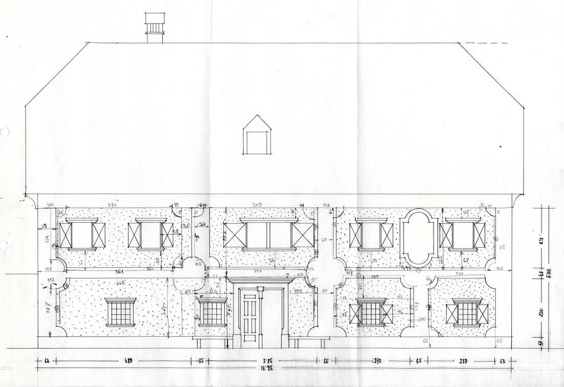 Peter Fister, načrt fasade Legatove hiše v lescah,1967
