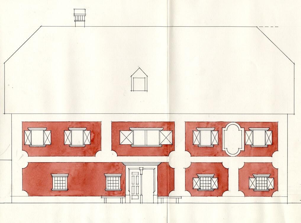 Peter Fister, barvna študija fasade Legatove hiše v Lescah, 1967