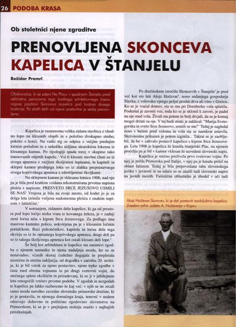 Prenovljena Skonceva kapelica v Štanjelu : ob stoletnici njene zgraditve - B. Premrl