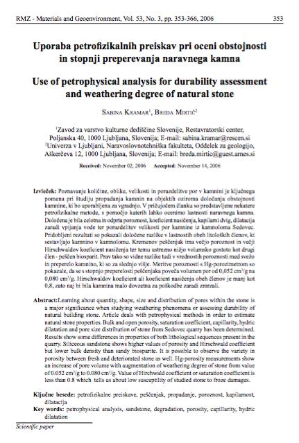 Uporaba petrofizikalnih preiskav pri oceni obstojnosti in stopnji preperevanja naravnega kamna
