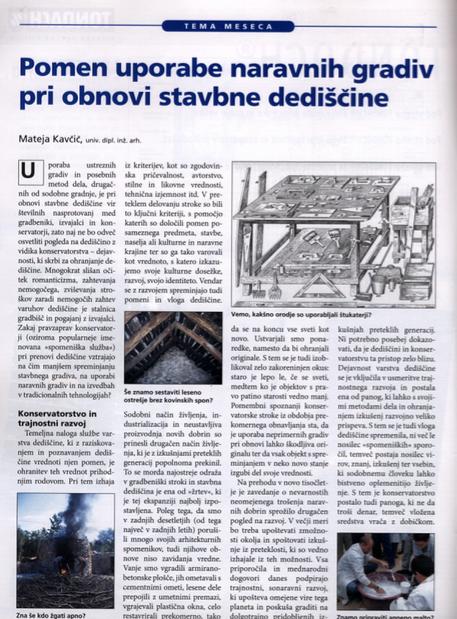Pomen uporabe naravnih gradiv pri obnovi stavbne dediščine